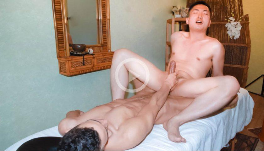 Asian gay masseur riding Latino cock