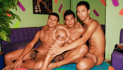 Asian Go Go Boys sitting naked on the stage