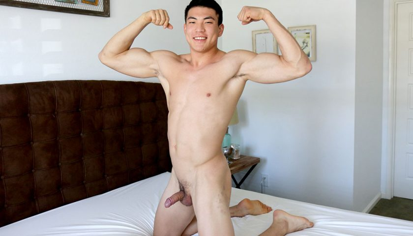 Sean Lee tall Asian young stud flexing muscles